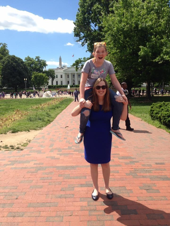 """Sarah McBride is my hero,"" says Stella Keating, pictured here on the Delaware state senator's shoulders. Keating made history last week as the first transgender teen to testify before the U.S. Senate, which she did to support the Equality Act. (Courtesy of Stella Keating)"