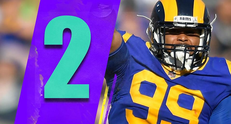 <p>Aaron Donald finished with 20.5 sacks. That's the new record for a defensive tackle in a season and that record (which had stood for almost 30 years) might last a long time … unless Donald breaks it himself. (Aaron Donald) </p>