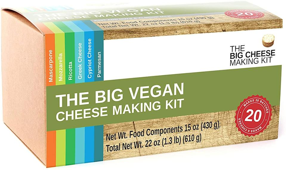 "<h2>Vegan Cheese Making Kit</h2><br>Can't find the perfect vegan cheese? Don't worry, this kit will allow their own tasty creations to come to fruition. <br><br><strong><em><a href=""https://www.amazon.com/s?k=The+Big+Cheese+Making+Kit&ref=bl_dp_s_web_0"" rel=""nofollow noopener"" target=""_blank"" data-ylk=""slk:Shop Amazon"" class=""link rapid-noclick-resp"">Shop Amazon </a></em></strong><br><br><strong>The Big Cheese Making Kit</strong> The Big Vegan Cheese Making Kit, $, available at <a href=""https://www.amazon.com/Big-Vegan-Cheese-Making-Kit/dp/B07WNHMYRN/ref=sr_1_3?"" rel=""nofollow noopener"" target=""_blank"" data-ylk=""slk:Amazon"" class=""link rapid-noclick-resp"">Amazon</a>"
