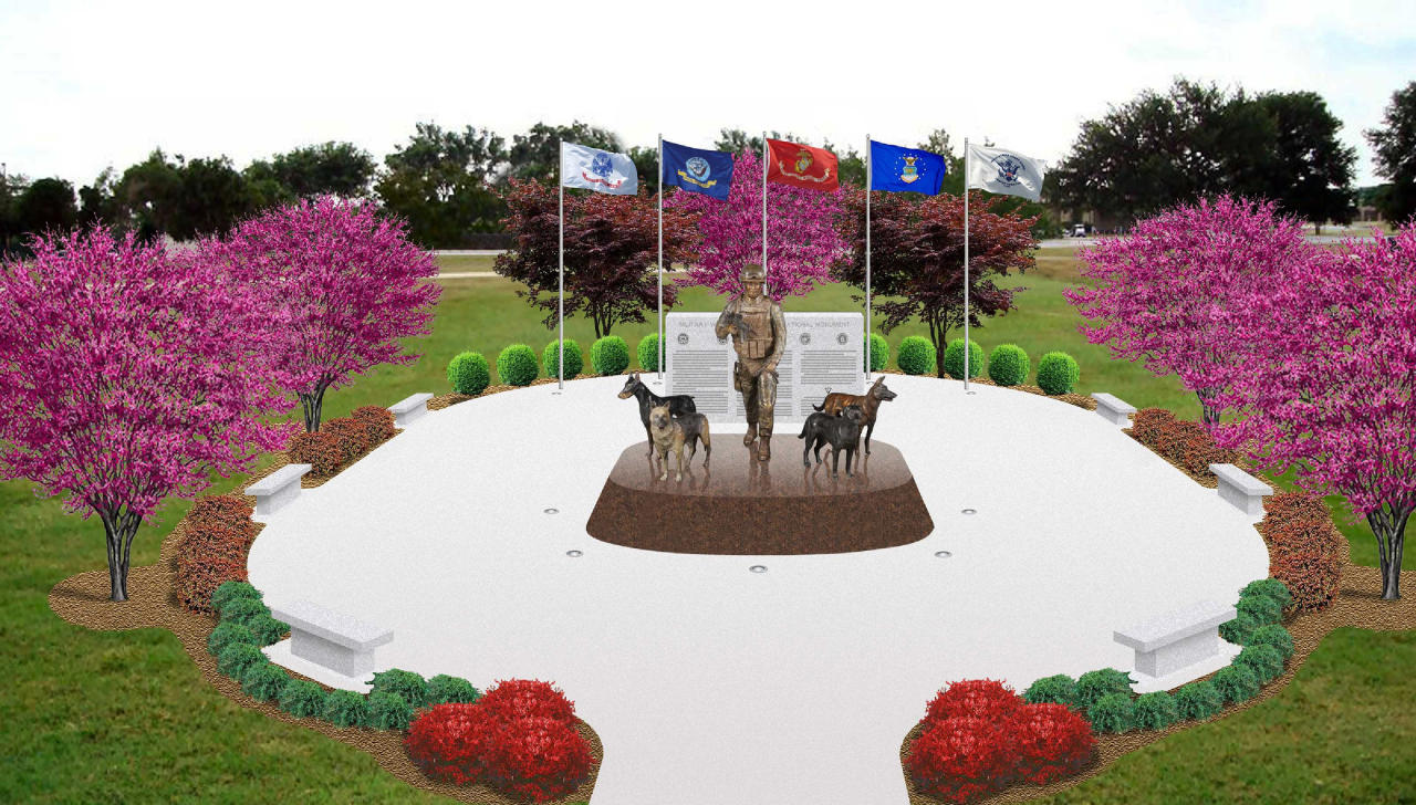 This undated publicity photo provided by John Burnam Monument Foundation, Inc., shows a conceptual drawing of the U.S. Military Working Dog Teams National Monument. It is the first national monument ever to pay tribute to dogs and honors every dog who has served in combat since World War II. (AP Photo/John Burnam Monument Foundation, Inc.)