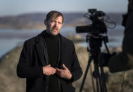 "Jonas Holmberg, creative director of Goteborg Film Festival is interviewed by the Associated Press, on the island of Hamneskar, western Sweden on Saturday, Jan. 30, 2021. The 44th Goteborg film festival opened this weekend in a mostly virtual format but an emergency ward nurse from Sweden was selected among 12,000 volunteers to spend a week on an isolated island in the North Sea with for only companionship the events' entire movie selection. Lisa Enroth said the opportunity gave her ""time to reflect"" after a busy year amid the COVID pandemic. (AP Photo/Thomas Johansson)"