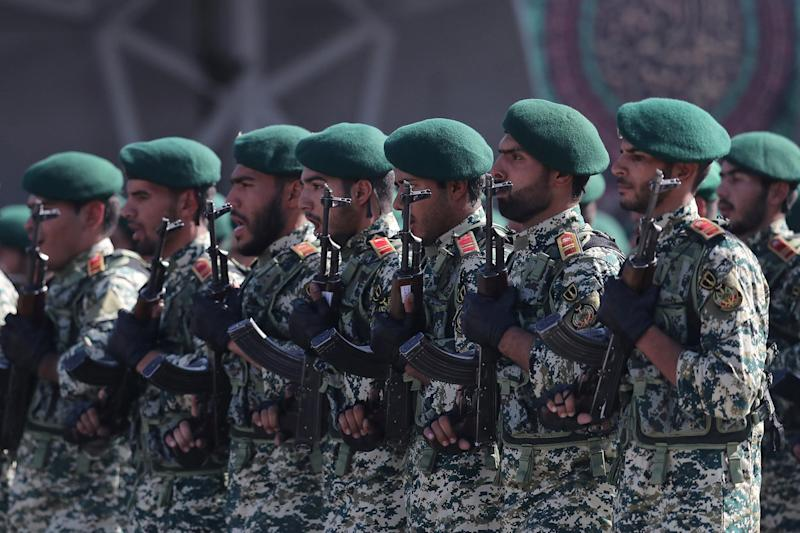 Members of Iranian armed forces march during a parade in Tehran, Iran, September 22, 2017. President.ir/Handout via REUTERS