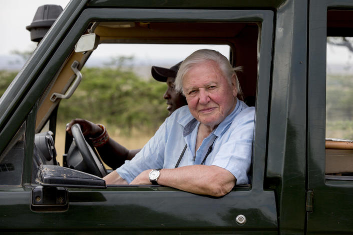 Sir David Attenborough pictured in the Maasai Mara in Kenya while filming the documentary (Keith Scholey / Silverback Films)
