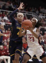 Stanford Cardinal guard Kiana Williams, right, shoots next to California forward Alaysia Styles (4) during the first half of an NCAA college basketball game Friday, Jan. 10, 2020, in Stanford, Calif. (AP Photo/Ben Margot)