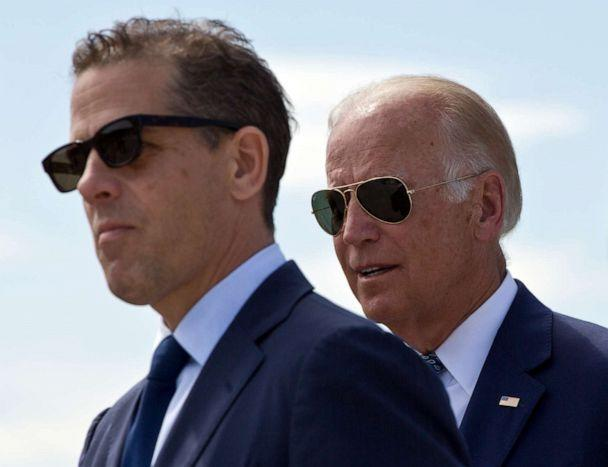 PHOTO: Hunter Biden and Joe Biden attend a ceremony to name a national road after Joseph R. 'Beau' Biden III, in the village of Sojevo, Kosovo, on Aug. 17, 2016. (Visar Kryeziu/AP, FILE)