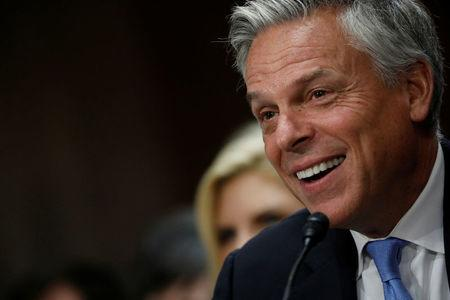 Former Gov. Jon Huntsman testifies before a Senate Foreign Relations Committee hearing on his nomination to be ambassador to Russia on Capitol Hill in Washington