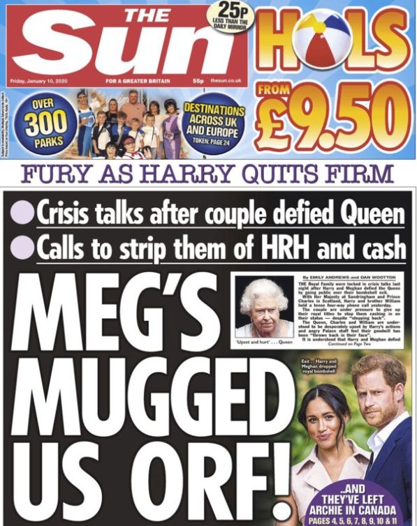'Meg's mugged us off!' The Sun's front page reads. Source: BBC