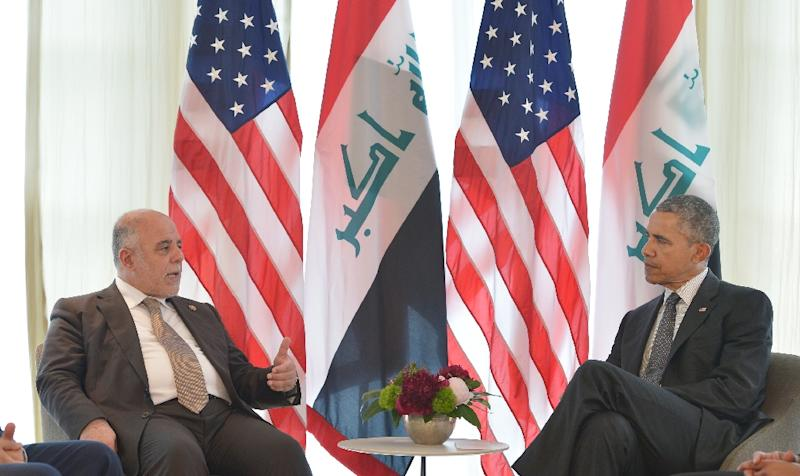 Iraq's Prime Minister Haider Al-Abadi (L) speaks during a bilateral meeting with US President Barack Obama on the sidelines of the G7 Summit at the Schloss Elmau castle resort near Garmisch-Partenkirchen, Germany, June 8, 2015