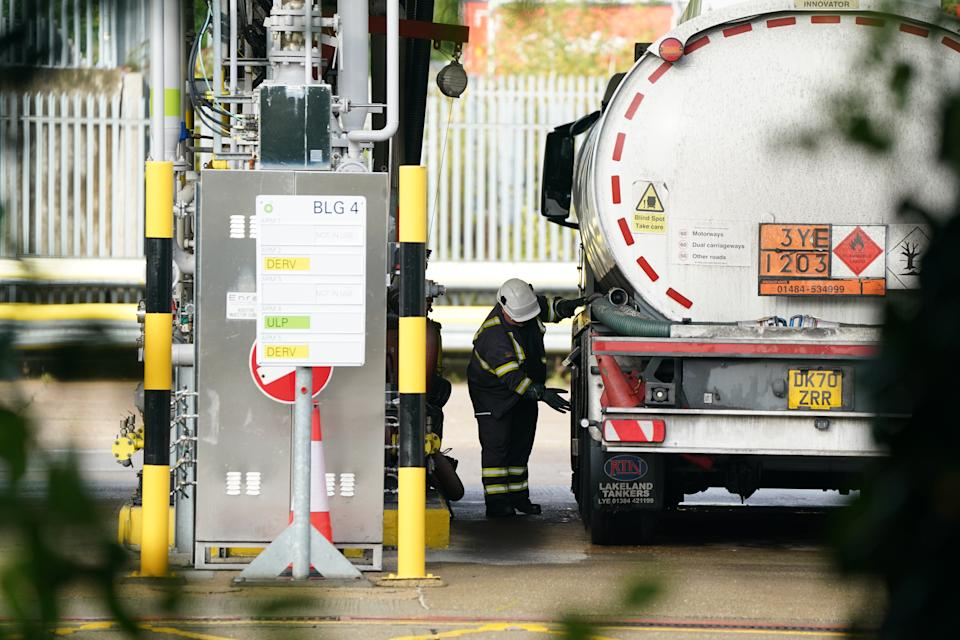 A tanker is refilled at Buncefield oil depot, known as the Hertfordshire Oil Storage Terminal, in Hemel Hempstead. Picture date: Monday October 4, 2021. (Photo by Joe Giddens/PA Images via Getty Images)