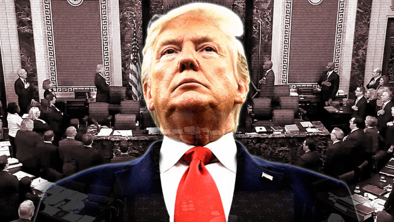 President Donald Trump and the Senate impeachment trial. (Photo illustration: Yahoo News; photos: AP, Senate TV via Yahoo News)