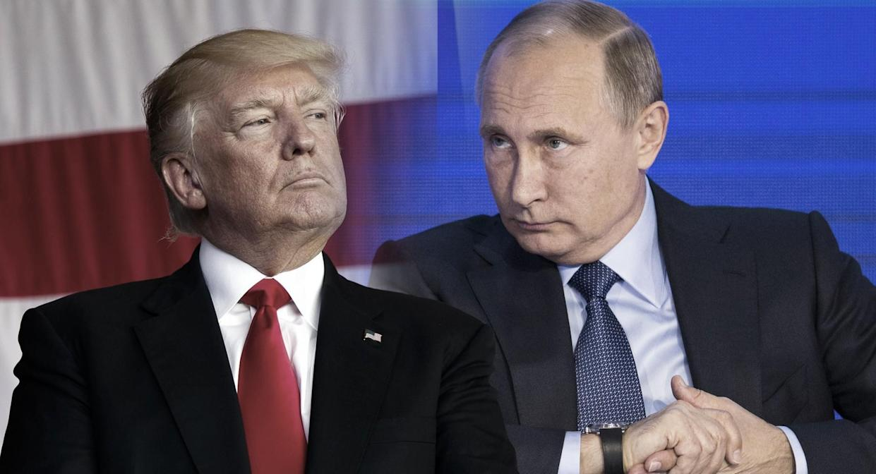 President Trump and Russian President Vladimir Putin. (Photo illustration: Yahoo News; photos: Evan Vucci/AP, Alexander Zemlianichenko, pool/AP)