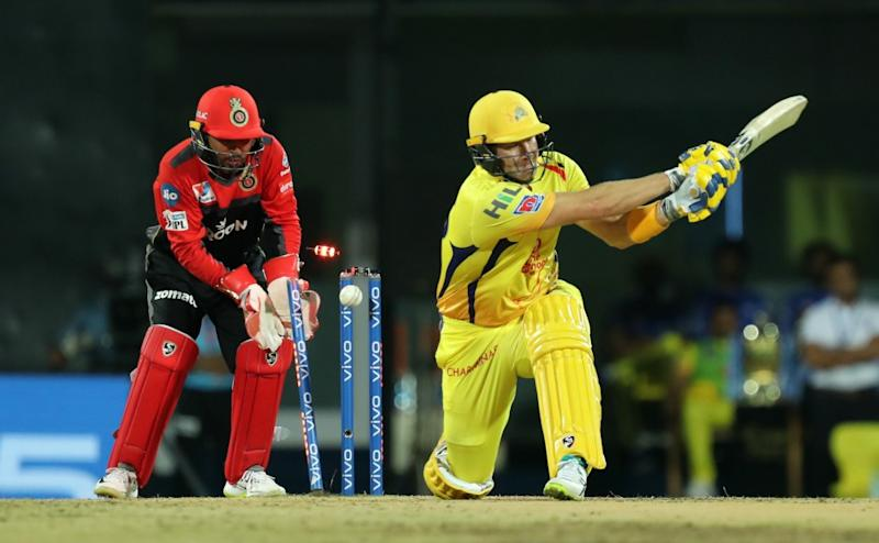 Shane Watson of Chennai Super Kings bowled during match 1 of the Vivo Indian Premier League Season 12, 2019 between the Chennai Superkings and the Royal Challengers Bangalore held at the M. A. Chidambaram Stadium in Chennai, Tamil Nadu on the 23rd March 2019 Photo by: Prashant Bhoot /SPORTZPICS for IPL