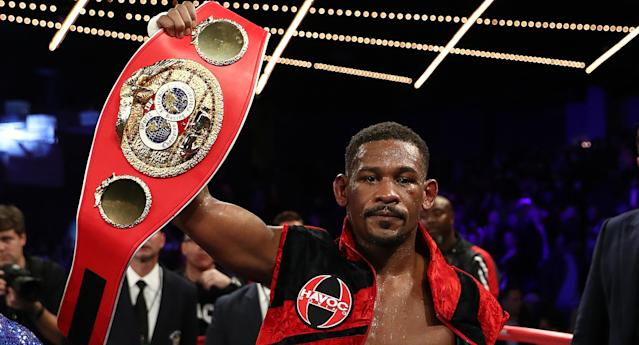Daniel Jacobs celebrates after winning a split decision against Sergiy Derevyanchenko after their IBF middleweight title fight at Madison Square Garden on Oct. 27, 2018 in New York City. (Getty Images)
