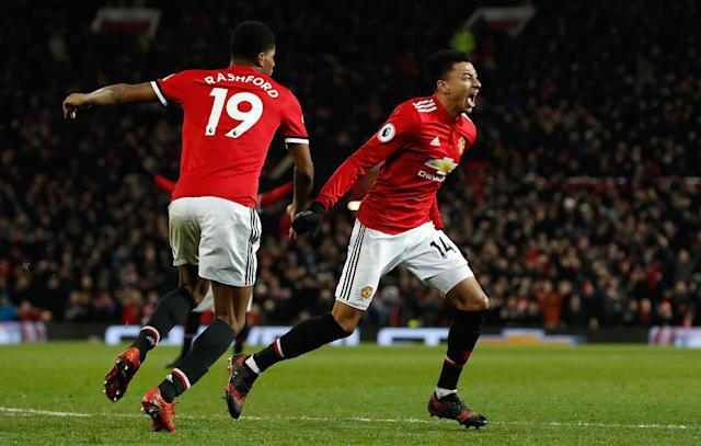 Jesse Lingard celebrates his second goal against Burnley on Tuesday. (Getty)