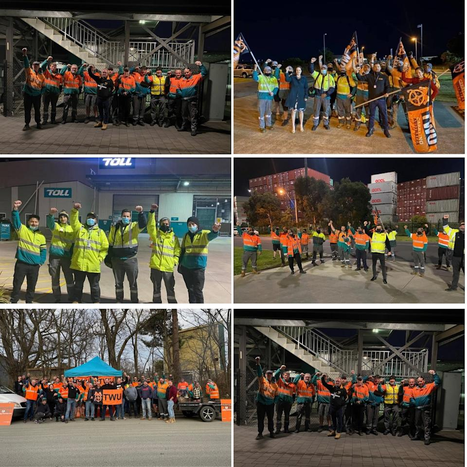 Composite images of Toll workers striking organised by the TWU