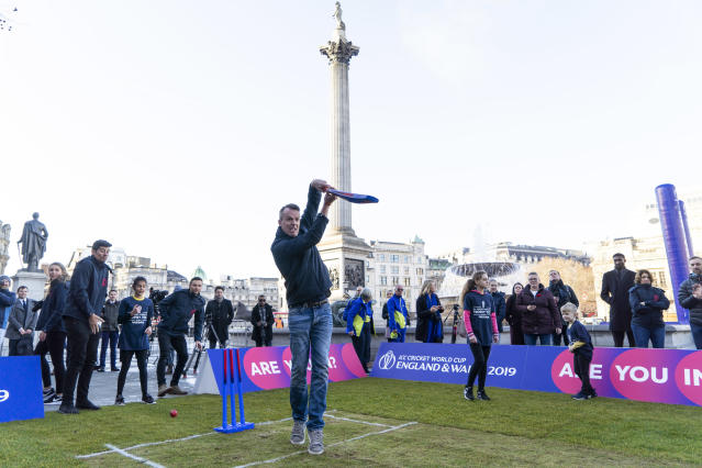 Swann took the time out to swing the bat at Trafalgar Square