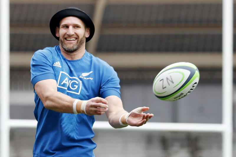 New Zealand's Kieran Read takes part in a training session in Kashiwa, near Tokyo Wednesday, Sept. 11, 2019, ahead of the Rugby World Cup. (Yuki Sato/Kyodo News via AP)
