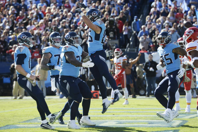 Tennessee Titans tight end Anthony Firkser (86) celebrates with offensive guard Rodger Saffold (76) after Firkser scored a touchdown against the Kansas City Chiefs in the first half of an NFL football game Sunday, Nov. 10, 2019, in Nashville, Tenn. (AP Photo/Mark Zaleski)