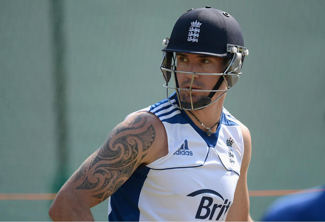 AHMEDABAD, INDIA - NOVEMBER 13:  Kevin Pietersen of England during a nets session at Sardar Patel Stadium on November 13, 2012 in Ahmedabad, India.  (Photo by Gareth Copley/Getty Images)
