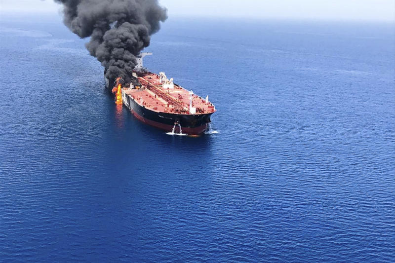 The Front Altair, a Norwegian-flagged oil tanker, burns June 13, 2019. The Trump administration has strongly claimed Iran was behind the attack.