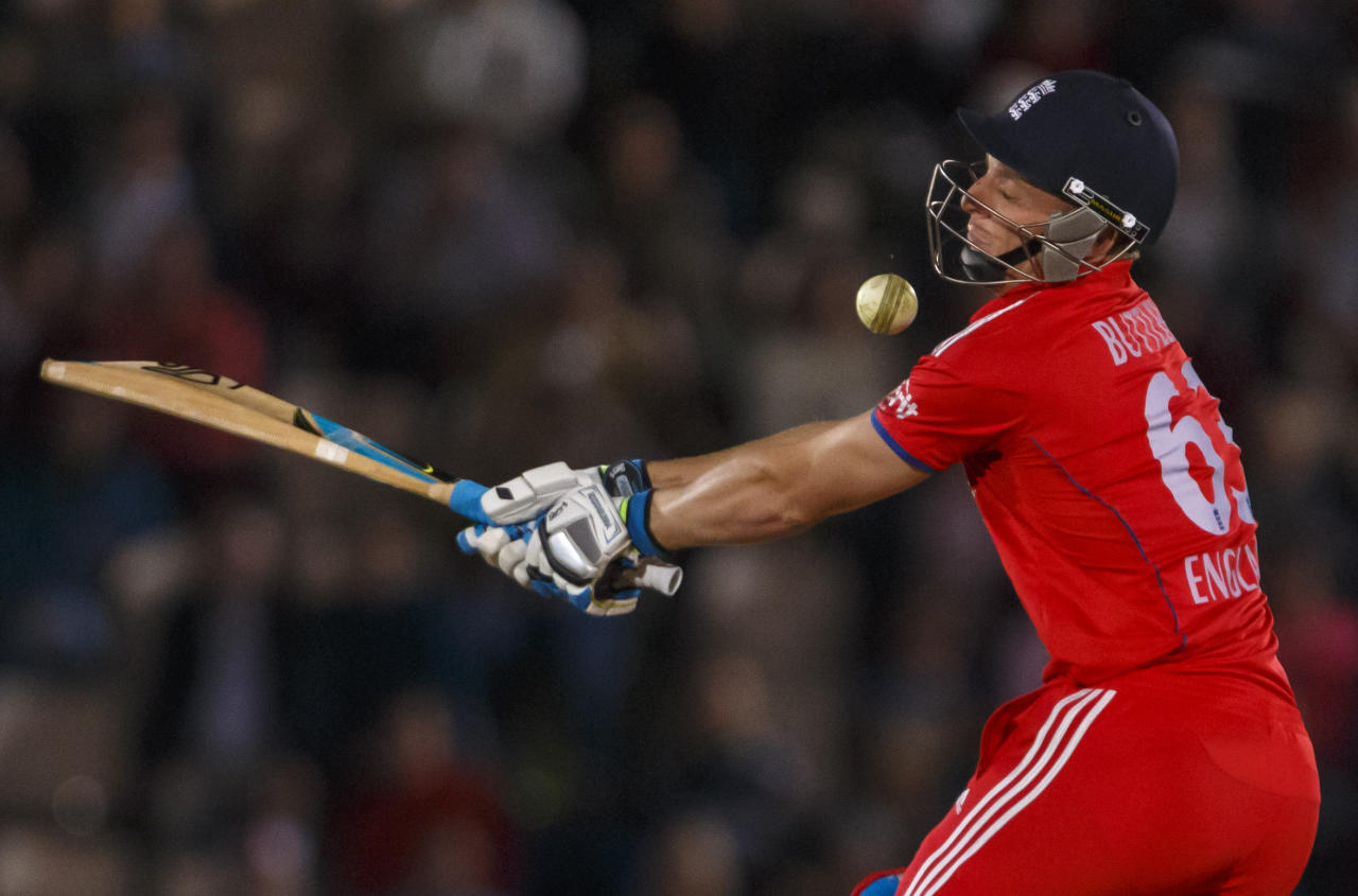 England's Jos Buttler is hit in the face off the bowling of Australia's Shane Watson during the International Twenty20 match at the Ageas Bowl, Southampton.