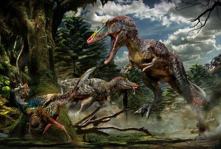 Two Qianzhousaurus sinensis individuals are pictured hunting in this handout artist's rendering