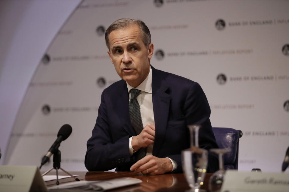 Mark Carney the Governor of the Bank of England speaks during an Inflation Report Press Conference at the Bank of England in the City of London, Thursday, May 2, 2019. (AP Photo/Matt Dunham, Pool)