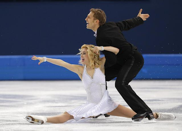 Isabella Tobias and Deividas Stagniunas of Lithuania compete in the ice dance short dance figure skating competition at the Iceberg Skating Palace during the 2014 Winter Olympics, Sunday, Feb. 16, 2014, in Sochi, Russia