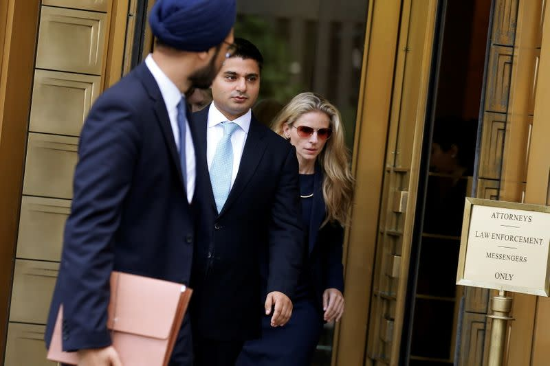 FILE PHOTO: Rohan Ramchandani, former London-based trader for Citigroup Inc, exits the U.S. Federal Court in Manhattan following a hearing for conspiring to rig prices in the foreign exchange market in New York