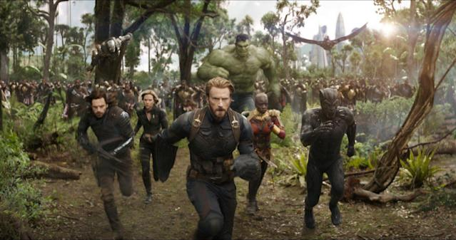 Mark Ruffalo's Hulk (center) is featured in a scene from the <i>Avengers: Infinity War</i> trailers that was never in the film. (Photo: Marvel Studios)