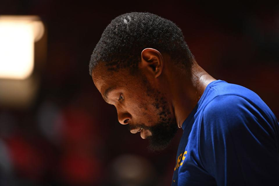 Warriors superstar Kevin Durant will try to defy the odds of Achilles injuries. (Getty Images)