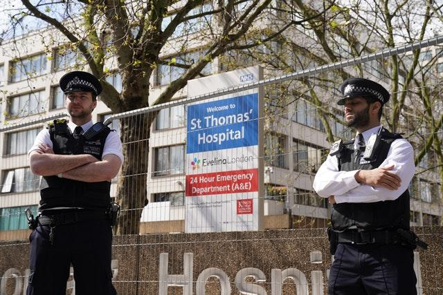 Police officers outside St Thomas' Hospital