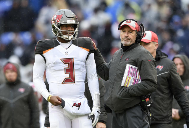Headed for a divorce? The Tampa Bay Buccaneers will reportedly keep Jameis Winston as the team's quarterback in 2019, putting coach Dirk Koetter's future with the team in doubt. (AP)