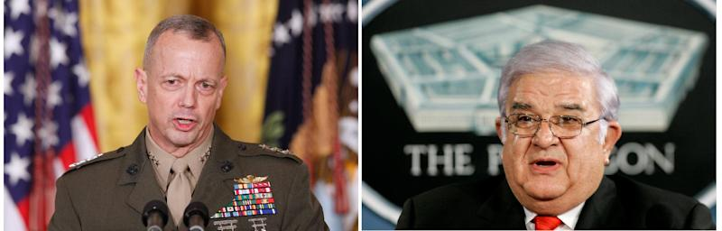 FILE - NATO forces Commander Gen. John Allen is seen in this 2011 file photo, left, and Afghanistan Defense Minister Gen. Abdul Rahim Wardak is seen in this 2006 file photo will sign a memorandum of understanding later on Friday March 9, 2012 according to the Afghan Foreign Ministry. A Western official says the document is about the long-delayed handover of detention facilities from U.S. to Afghan control. The official says the language of the agreement is still being discussed but the major issues have been decided. (AP Photo/FILES)