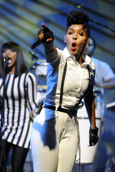 CORRECTS NAME OF EVENT FROM AUDI M3 TO AUDI A3 Janelle Monae performs during a launch party for the Audi A3 on Thursday, April 3, 2014 in West Hollywood, Calif. (Photo by Chris Pizzello/Invision/AP)