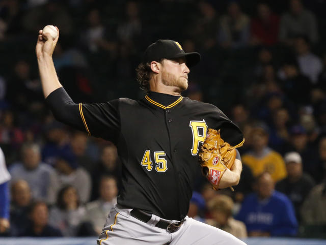 Pittsburgh Pirates starting pitcher Gerrit Cole delivers during the first inning of a baseball game against the Chicago Cubs Tuesday, Sept. 24, 2013, in Chicago. (AP Photo/Charles Rex Arbogast)
