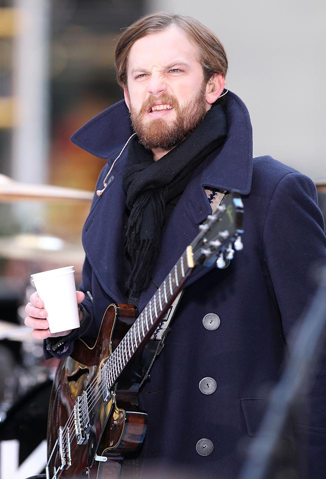 "Singer Caleb Followill of Kings of Leon performs on NBC's ""Today Show"" at Rockefeller Center on November 24, 2010 in New York City."