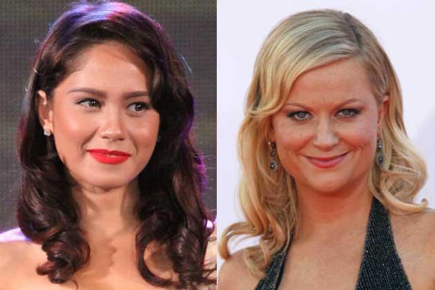 Reminiscent of Rita Hayworth's hairstyle, Jessy Mendiola and Amy Poehler keeps the finger waves soft.