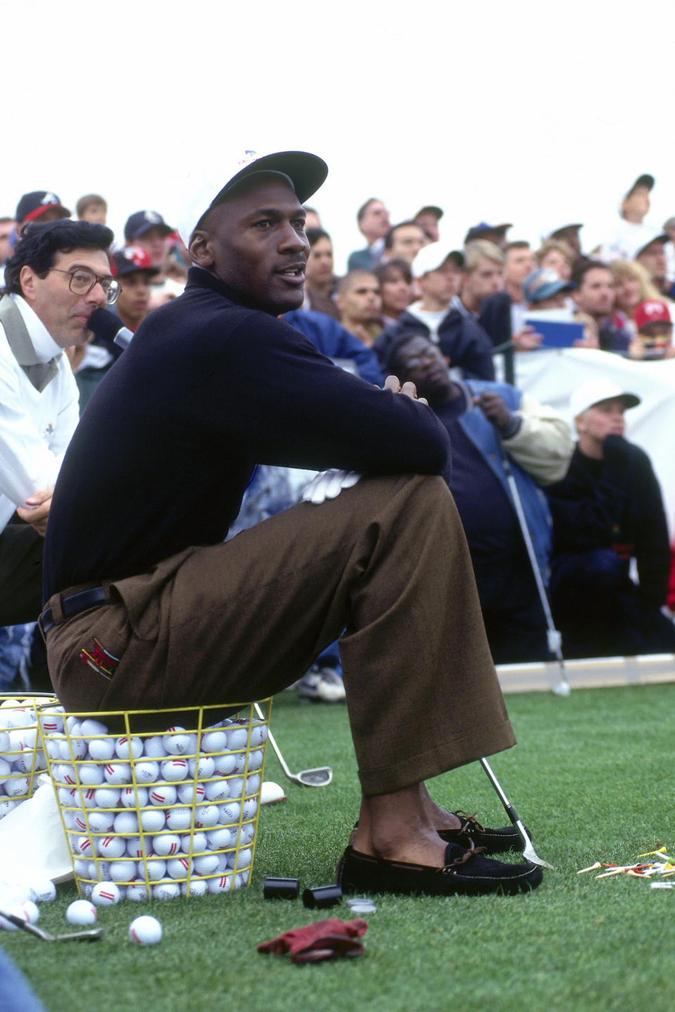 Michael Jordan looks on during the Michael Jordan Golf Open on October 31, 1995 in Aurora, Illinois. (Photo by Barry Jarvinen/NBAE via Getty Images)