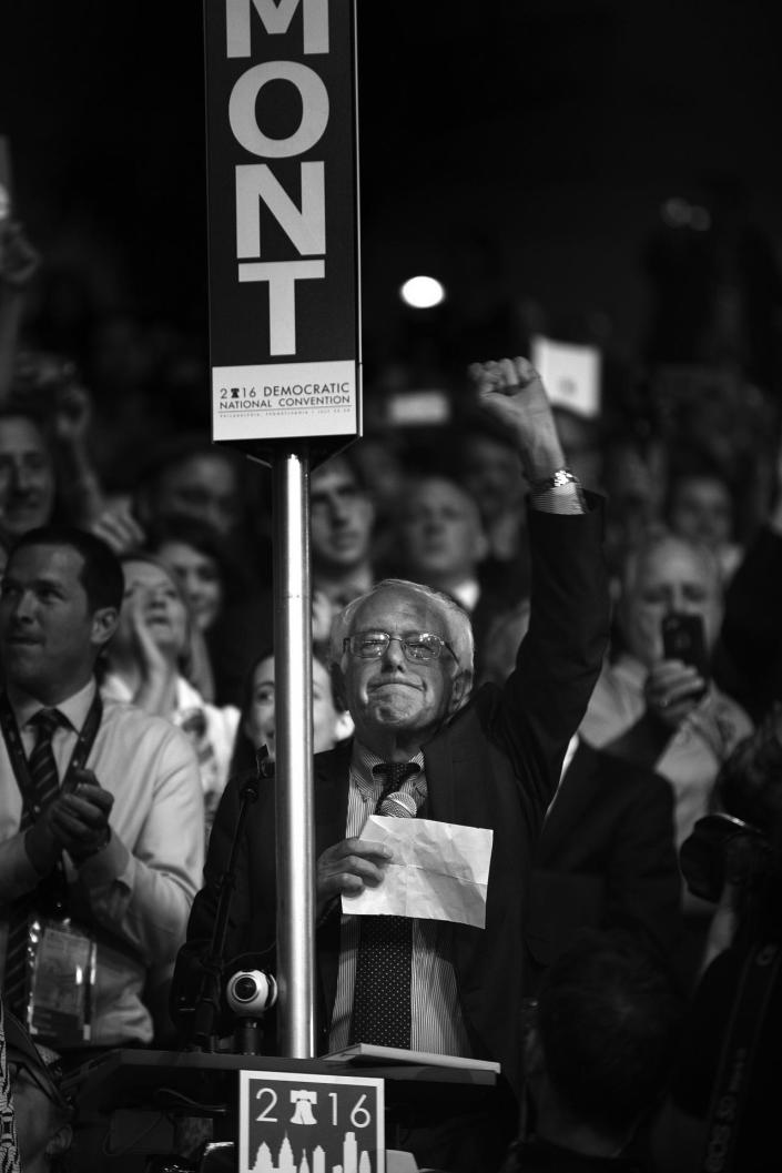 <p>Sen. Bernie Sanders, I-VT., asks that Hillary Clinton become the unanimous choice for President of the United States during the second day of the Democratic National Convention in Philadelphia , Tuesday, July 26, 2016. (Photo: Khue Bui for Yahoo News) </p>