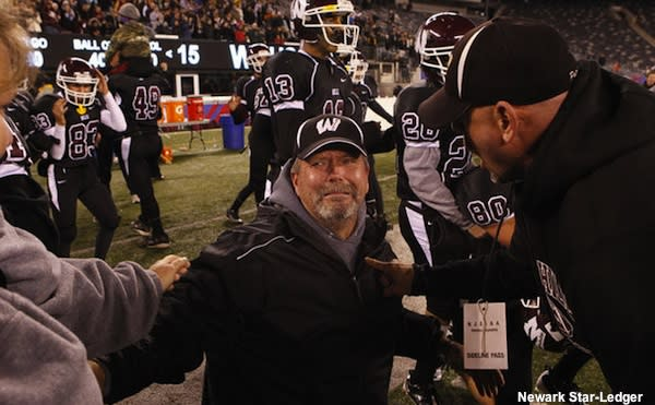 Wayne Hills football coach Chris Olsen after the state title game victory