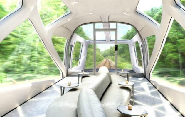 Shiki-shima observation carriage is exactly the kind of futuristic luxury you'd expect from Japan.