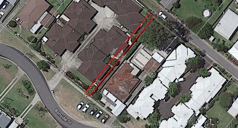 An aerial view of Lot F Bonville Street at Coffs Harbour.