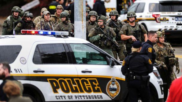PHOTO: Law enforcement officers secure the scene where multiple people were shot, Oct. 27, 2018, at the Tree of Life Congregation in Pittsburgh's Squirrel Hill neighborhood. (Alexandra Wimley/Pittsburgh Post-Gazette via AP)