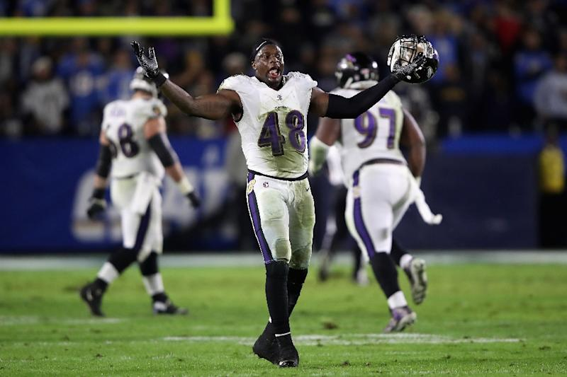 49c06c482 Baltimore  39 s Patrick Onwuasor reacts to Tavon Young  39 s fumble