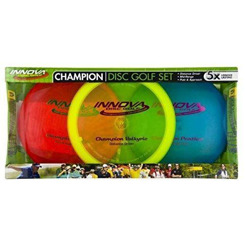 """<p><strong>Innova - Champion Discs</strong></p><p>amazon.com</p><p><strong>$46.28</strong></p><p><a href=""""https://www.amazon.com/dp/B005TEXO7I?tag=syn-yahoo-20&ascsubtag=%5Bartid%7C2089.g.36863790%5Bsrc%7Cyahoo-us"""" rel=""""nofollow noopener"""" target=""""_blank"""" data-ylk=""""slk:Shop Now"""" class=""""link rapid-noclick-resp"""">Shop Now</a></p><p>If you want to play like a champion, this Innova set is for you. These discs are made with the company's Champion material, which is some of the most durable plastic in frolf game. Each 150-gram disc feels and throws just right, especially for those still in the process of perfecting their craft.</p>"""