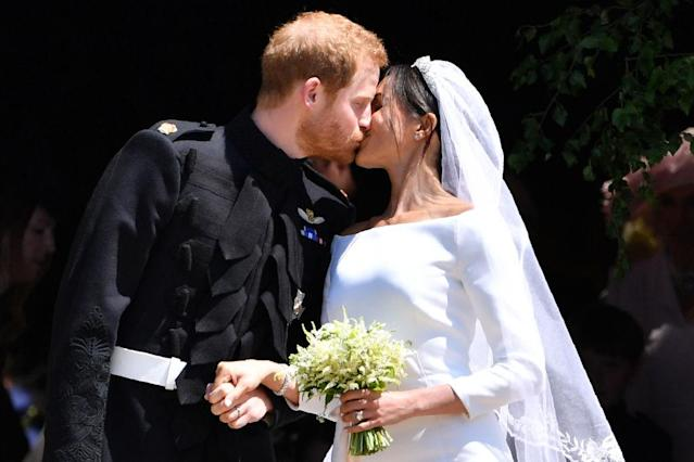 <p>The pair looked overjoyed throughout the ceremony. (Photo: Getty) </p>