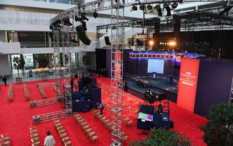 The stage at the Case Western Reserve University where the two candidates will meet shortly - GETTY IMAGES