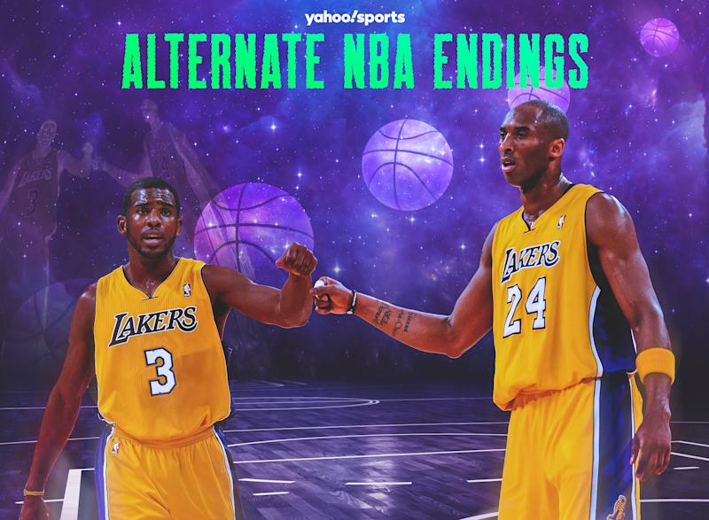 Chris Paul's trade to Kobe Bryant's Lakers in December 2011 was vetoed by NBA commissioner David Stern. (Yahoo Sports graphic)