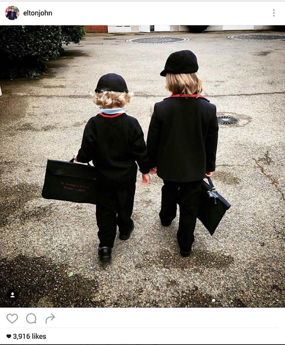 <p>The singer shared this sweet photo of Zachary, five, and Elijah, three, heading off to school. <i>(Photo: Instagram)</i></p>